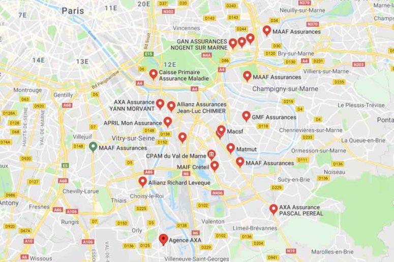 carte qui répertorie les villes dans le Val de Marne